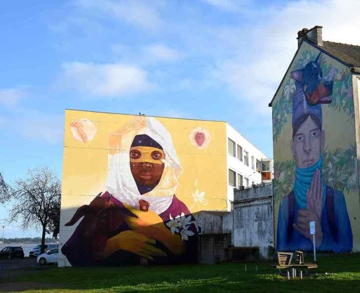 Street art à Saint-Nazaire, fresques monumentales des artistes chiliens Inti et Robot de la Madera
